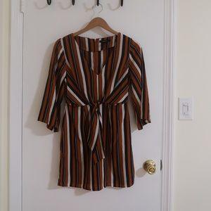 Orange and Black Long Sleeve Mini Dress
